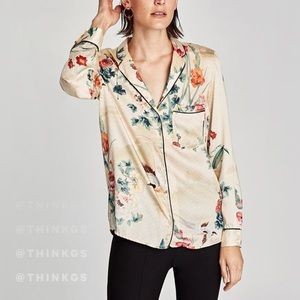 Zara Floral Watercolor Blouse